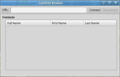 CardDAV Browser Empty Dialog