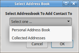 Add To Addressbook Dialog - Pull-down Menu